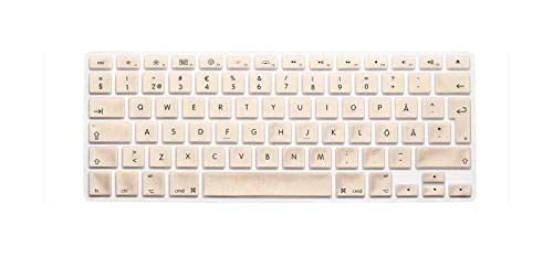 New Silicone Sweden Letter Keyboard Cover For Macbook Air Pro Retina 13 15 17 Protector For Mac book keyboard case EU-Gold-