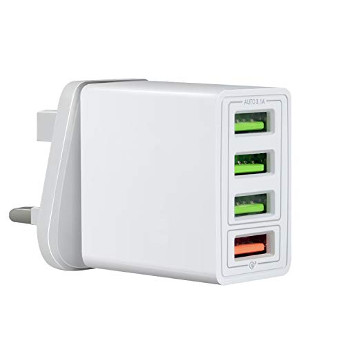 Shyonda USB Wall Charger, 4-Port Travel Wall Fast Charger Adapter QC3.0 Block Plug Smart Ports Plug for Apple iPhone 11 Pro/XS Max/XR/X, iPad Air 3/Mini 5, Samsung S10e/S9, Note 10 Plus, OnePlus.