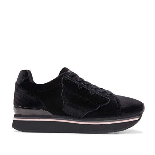 Emporio Armani - Zapatillas de ante para mujer Negro Negro Negro Size: 40 EU