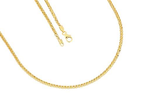 BoB C. Zopfkette Made in Germany diamantiert 585/- Gold, 14 Karat gelbgold/rhodiniert