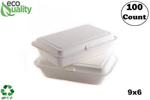 100 Count - Biodegradable 9x6 Take Out Food Containers with Clamshell Hinged Lid - Eco Friendly Sugarcane Bagasse 100% Compostable, Recyclable, Togo, Restaurant Carry Out, Party Take Home Boxes