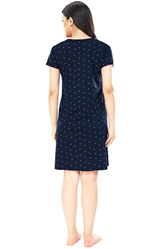 ZEYO Women's Cotton Night Dress Flash Print Feeding Short Nighty (Navy Blue, Large)