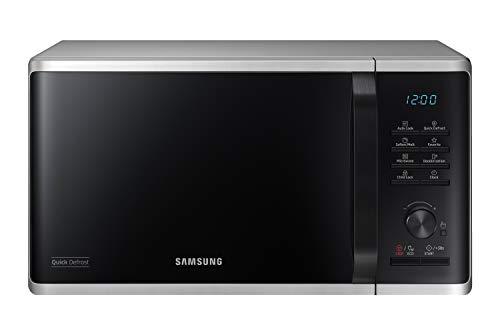 Samsung MS23K3515AS/EG Mikrowelle / 800 W / 23 L Garraum / 48,9 cm Breite / Kratzfester Keramik-Emaille-Inneraum / QuickDefrost Auftauprogramme / silber
