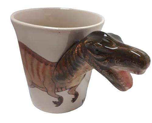 b2see Dinosaurier Tasse Tier Tasse 3D Tasse Keramik Becher mit Tieren Tiermotiven 14 x 15 x 10 cm Velociraptor