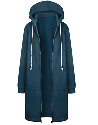 Hifanmall Damen Strickjacke Casual Mantel Hoodie Zipper Hoodies Sweatjacke Langer Manteljacke Oversized Coat Outwear Kapuzenpullover, Blau, 46