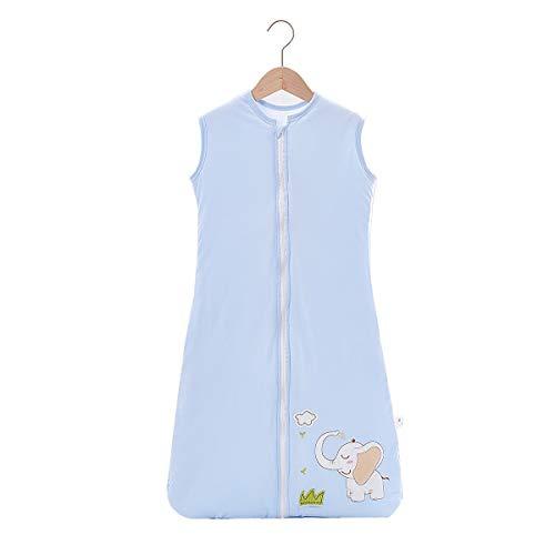 NFSQYDT Frühling Sommer Baby Schlafsack Kinderschlafsack Ohne Ärmel Schlafsack aus 100% Baumwolle Verschiedene Größen Ganzjährig Schlafsack Elephant Pattern-Dress Length 130cm