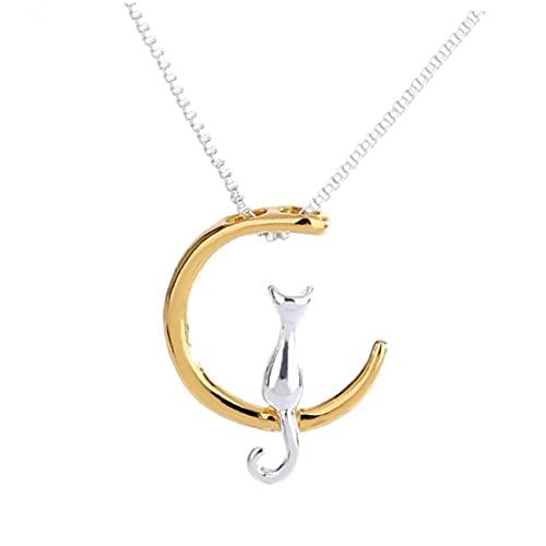 1pc Adorabile gatti collana pendente collana romantica fascino gatto e luna pendente pendente in lega catena collane regali di gioielli carino regali per le donne ragazze forti e robusto