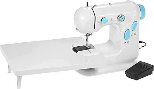 WXking Mini máquina de Coser Mini Máquina de Coser con Mesa de extensión Doble Hilo Doble Velocidad DIRIGIÓ Pedal de pies Ligeros (Color: Blanco + Azul, Tamaño: Un tamaño)