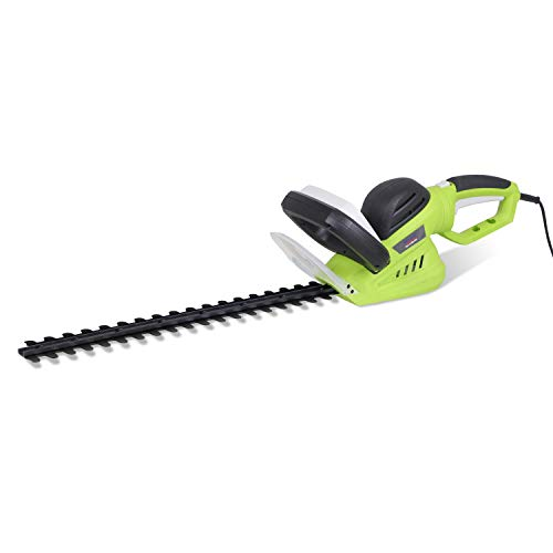 600W Electric Hedge Cutter/Trimmer with 510mm Blade Length, 16mm Tooth Spacing, 10m Cable, Dual Steel Blade, Rotating Handle