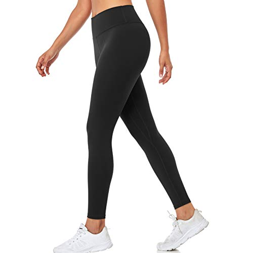 SIHOHAN Yoga Pants for Women, High Waist Tummy Control Stretch Gym Workout Running Leggings, Fitness Sports Tights with Inner Pocket (Black, XL)