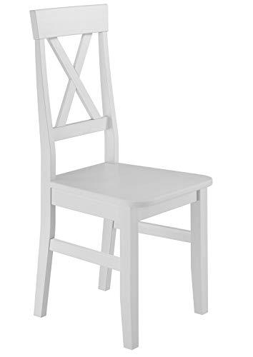 Erst-Holz® Küchenstuhl Massivholzstuhl Esszimmerstuhl Kiefer Stuhl 90.71-23, Holzart/Holzfarbe:Kiefer weiß