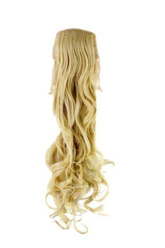 Postiche queue de cheval blond platine ondulé 63cm, attache avec élastique et pince YZF-1094HT-88