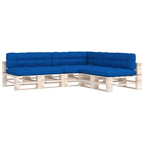 vidaXL Cojines para Sofá de Palets 7 Piezas Asiento Silla Respaldo Jardín Patio Balcón Terraza Exterior Suave Cómodo Decoración Azul Klein