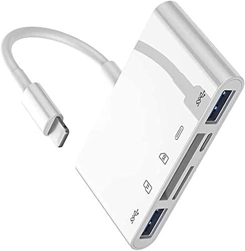 SD TF-Kartenleser, USB Adapter, Phone auf HDMI Adapter 5 in 1 OTG Kabel Adapter mit USB 3.0 OTG-Schnittstelle SD/TF-Kartenleser PD-Anschluss für Phone11/XS/X/8/7/6/Pad Air/Mini,Keine App erforderlich