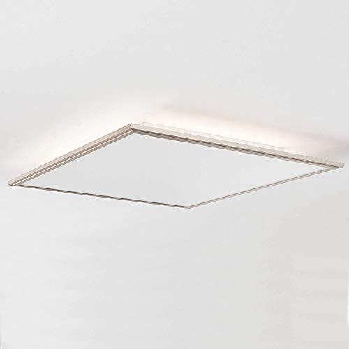 LED Panel Deckenleuchte mit indirekter Hintergrundbeleuchtung 60x60cm, 42 Watt, 3500 Lumen, 2700-6200 Kelvin aus Metall/Acryl in nickel eloxie