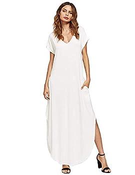 Verdusa Women s V Neck Side Pockets Split Hem Beach Long Maxi Dress White L