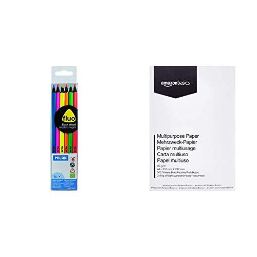 Milan 0752306 - Pack de 6 lápices de madera, color negro & AmazonBasics Papel multiusos para impresora A4 80gsm, 1 paquete, 500 hojas, blanco