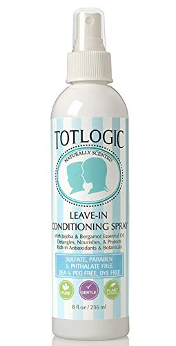 TotLogic Kids Detangler Spray and Leave In Conditioner - Naturally Scented with Essential Oils - Original, 8 oz
