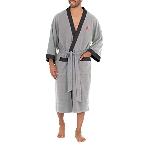 IZOD Men's Waffle Knit Kimono Robe, Grey Heather, One Size