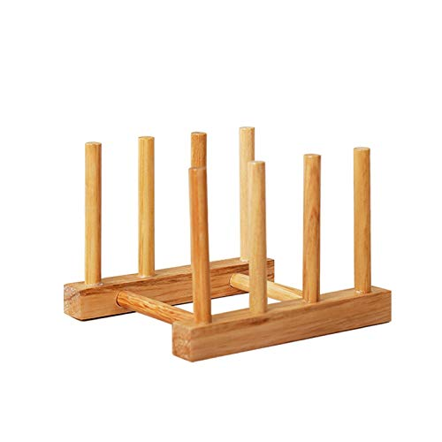 Bamboo Dish Rack,Pot lid/Plate/Cutting Board Organizer for Kitchen cabinets,Bottle Drying Holder