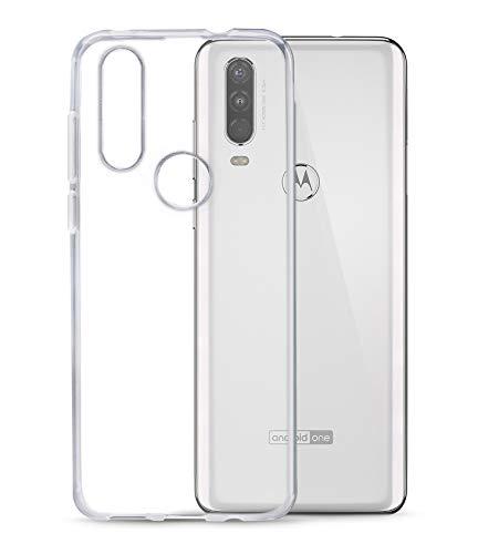 TPU Hülle kompatibel mit Motorola One Action Transparent Clear Hülle Schutz Handy Tasche Silikon mit mungoo Bildschirmputztuch