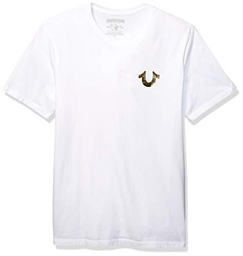 True Religion Men's Big Buddha Metalic Short Sleeve Tee, White, L