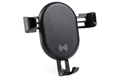 MKTOSASA - Cargador Inalámbrico Coche y Soporte de Rejilla para Smartphone. Mecanismo de Auto Ajuste. Compatible con Todos los Smartphones con Carga Inalámbrica Qi - 9.2x11x6.2