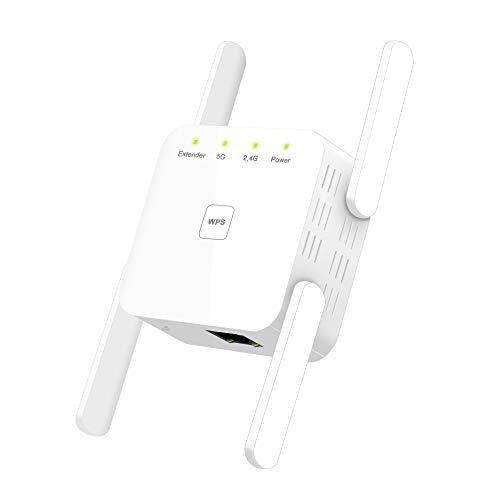Greatzer WLAN Verstärker,1200Mbit/s WiFi Repeater (867Mbps/5GHz 300Mbps/2,4GHz) WLAN Verstaerker Dualband WPS Wireless Signal Range Extender mit LAN-Port Kompatibel zu Allen WLAN Geräten-Weiß
