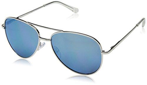 Peepers by PeeperSpecs Heat Wave Hideaway Aviator Bifocal Reading Sunglasses, Blue/Silver, 56 mm + 2.5