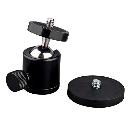 "ULIBERMAGNET 24lb 360° Rotation Magnetic Camera Mount and 1/4"" Thread Magnetic Camera Stand Magnetic Foot Mini Ball Head Heavy Duty Metal Securely Attaches to Car or Other Iron Surfaces"
