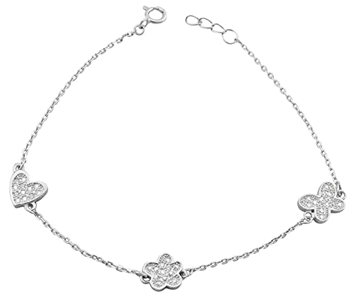 Hanessa 925 Real Silver Rhodium Plated Women's Jewellery Bracelet and Pendant Made of Real Silver Heart Flower Butterfly with Zirconia Stone Gift for Women