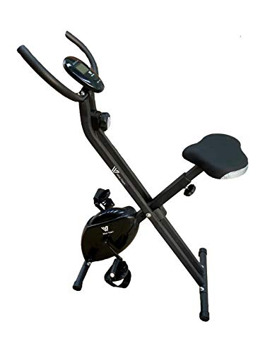 HANKING PLANET Bicicleta estatica Plegable de Resistencia magnética, Bicicleta Plegable Spinning 8 Niveles de Intensidad, Pantalla LCD, Velocidad, calorias, Distancia. (Negra)