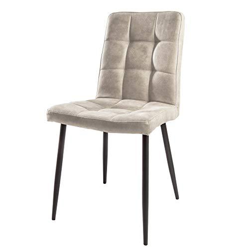 Invicta Interior Retro Design Stuhl Modena Stone grau mit Ziersteppung Esszimmerstuhl Besucherstuhl
