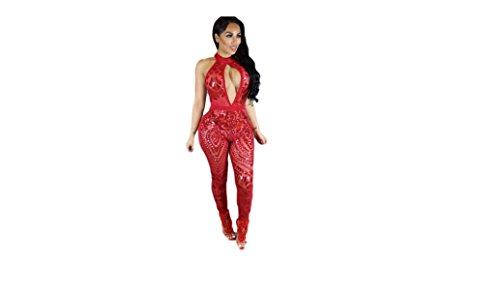 Top Totaal Rood pailletten Halter Sexy Jumpsuit
