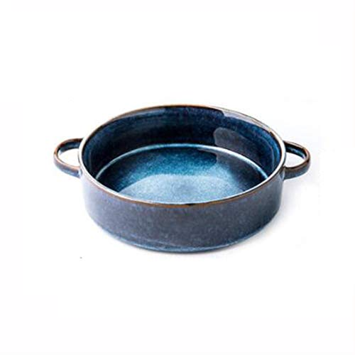 7.5 Inch Super Large Bowl, Double Handle Ceramic Bowl (900ml Large Capacity), Anti-scald, Suitable for Dishwasher and Disinfection Cabinet, Kitchen Ceramic Bowl (Color : Sydney Blue)