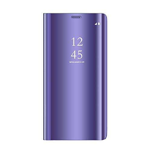 Sunrive Kompatibel mit Realme 5/Realme 5s Hülle,Schutzhülle Spiegel Transparent Hülle Handyhülle Schalen Handy Tasche Etui Cover Flip Handytasche(027 Lila) MEHRWEG+Gratis Universal Eingabestift