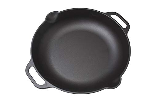 Victoria SKL-313 Cast Iron Paella Frying Pan Seasoned with 100% Kosher Certified Non-GMO Flax seed Oil, 13 Inches, Black