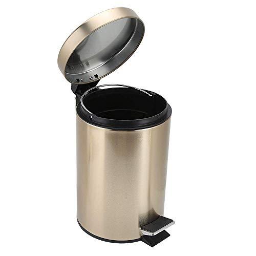 NUOCHEN Recycling-Mülleimer mit Deckel, 5 l, Messing, Edelstahl, kompakt, rund, für Badezimmer, Küche, Wohnzimmer, Schlafzimmer, goldfarben (Farbe: Gold)