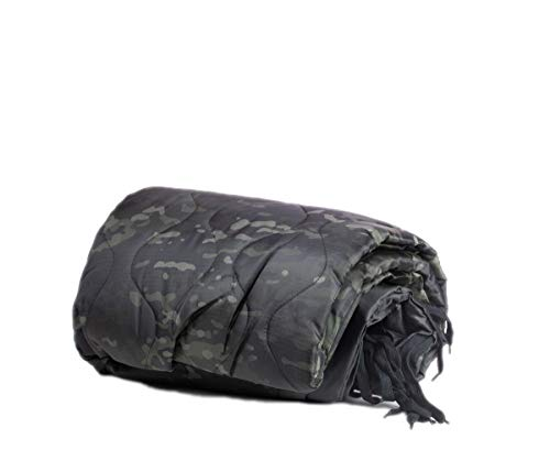 Farm Blue Tactical Camping Military Blanket - Woobie Poncho Liner - Lightweight Multifunctional All Weather Blanket Perfect for Camping Gear & Backpacking and Other Outdoor Activities - Black Camo