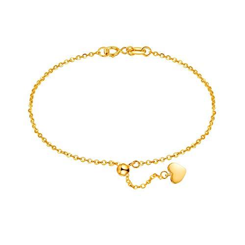 Beydodo Pulsera de Oro Mujer,Pulsera Mujer Oro Amarillo 18 Kilates Cadena de Rolo con Corazón Longitud 16cm + 2cm