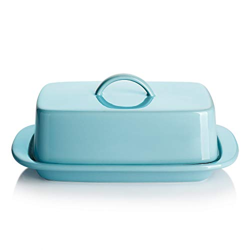 Sweese 312.102 Large Butter Dish with Handle Cover Design - Perfect for 2 Sticks of Butter and 8oz Butter - Porcelain, Turquoise
