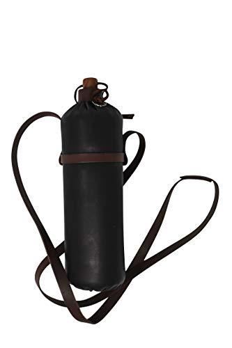 Erlebnis Mittelalter – Trinkflasche aus Leder - 1 Liter PET-Flasche mit Halfter und Gürtelschlaufe (schwarz)