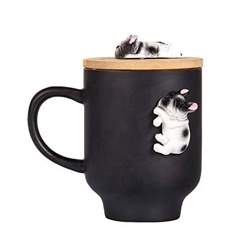 Funny Sleeping Frenchie Bulldog Mug Gifts, Ceramic Mug for French Bulldog Lovers with Bamboo Lid for Coffee Tea Milk,Dog Gifts for Dad (12oz,350ML) (Black, Sleep French Bulldog)