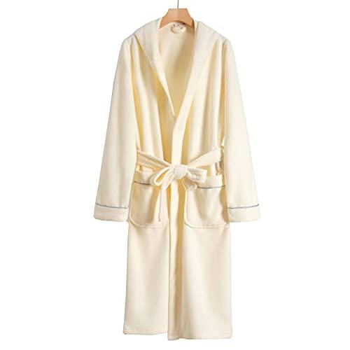 Parejas Vestido de vestir de algodón, súper suave toalla de toalla de lujo para hombre de lujo para mujer con bolsillo y cinturón con capucha acogedora túnica de hotel para gimnasia para vacaciones de