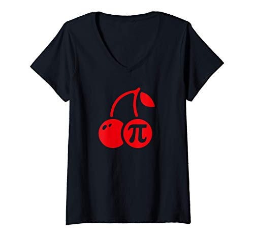 Mujer Cherry Pi Día, Divertido Matemáticas Nerd Pastel Maestro Camiseta Cuello V