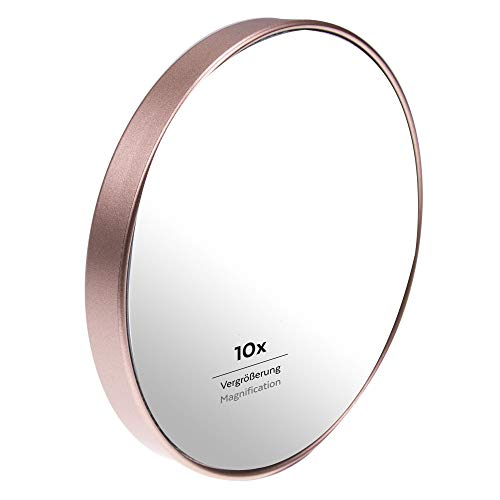 PARSA Beauty Saugnapf Spiegel Duschspiegel Badspiegel mit 10-fach Vergrößerung champagner