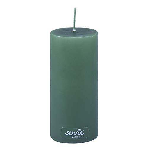 Sovie Candles Stumpenkerze | Adventskranz Gesteck Blockkerze | 1 Flachkopfkerze in Dunkelgrün (Ø70mm x 150mm)