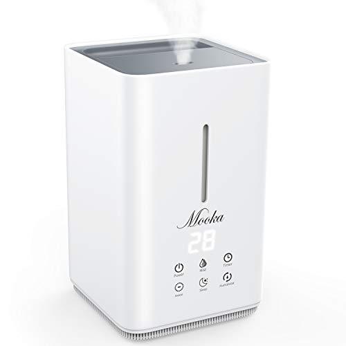 MOOKA 4L Luftbefeuchter, Ultraschall-Kaltnebel-Luftbefeuchter, Top Fill Water, Feuchtesensor, Timer, flüsterleiser Betrieb mit 3 verstellbaren Nebel-Modus für Zuhause, Büro, Schlafzimmer (Weiß)