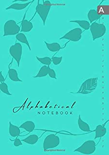 Alphabetical Notebook: B5 Lined-Journal Organizer Medium with A-Z Alphabet Tabs Printed   Cute Vine Leaves Design Turquoise
