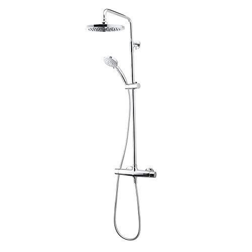 Galindo Libro - Colonna doccia miscelatore soffione 200 mm con accessori doccia argento cromato